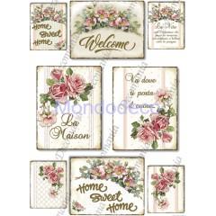 Carta di riso disegnata per decoupage  con targhette e fiori - Serie 21 cod. 5325
