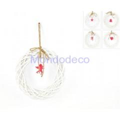 Dietroporta- ghirlanda in legno color bianco per decoupage come decorazione