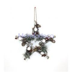Stella decorativa con legnetti e fiocchi di neve adatta alla decorazione per decoupage