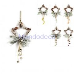 Appendino - Fuori porta stella pigne innevato con campanelli adatto per le decorazioni in decoupage