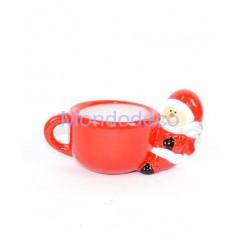 Tazza candela color  rosso con manico Babbo Natale