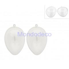 Confezione 2 pezzi - Uova apribile trasparente in plexiglass diam.  cm. 9 adatto la decorazione per decoupage