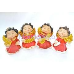 Set di 4 Angioletti con vestina rosso e oro