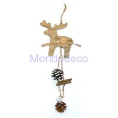 Appendino in legno a forma di Alce con juta, pigne e campanellino