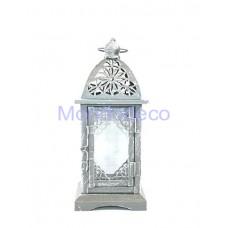 Lanterna in metallo color grigio shabby