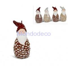 Candela Babbo Natale o pupazzo di neve  effetto pigna adatto alle decorazioni