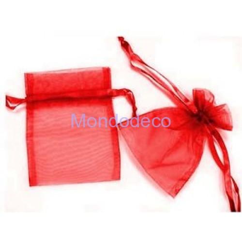Sacchetti in organza color rosso 6 pz.