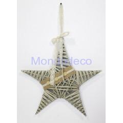 Stella in legno intrecciato color beige con merletto cm. 15