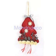Fuori Porta -  Albero in feltro con decorazioni e luci led colore rosso adatto alle decorazioni