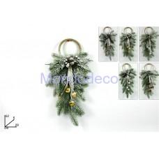 Appendino - Fuori porta ramo innevato con campanelli adatto per le decorazioni in decoupage