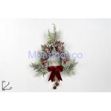 Dietroporta - Fuori portatriangolare con fiocco rosso in velluto adatto per le decorazioni in decoupage
