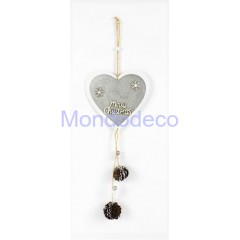 Appendino - Fuori porta cuore in legno Merry Christmas con pigne color argento adatto per le decorazioni