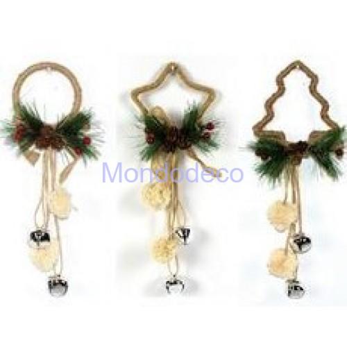 Appendino - Fuori porta nastrino in juta con pon pon e campanelli color argento adatto per le decorazioni in decoupage