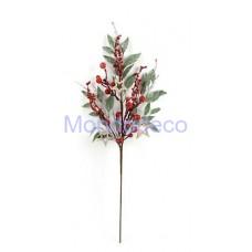 Stelo con bacche e stelle rosse adatto per le decorazioni