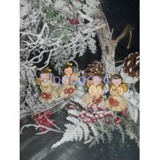 Set di 4 Angioletti color bianco e oro