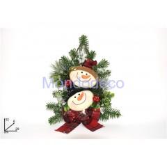 Dietroporta - Fuori porta albero pupazzo di neve  con decori e rami verde innevato adatto alle decorazioni