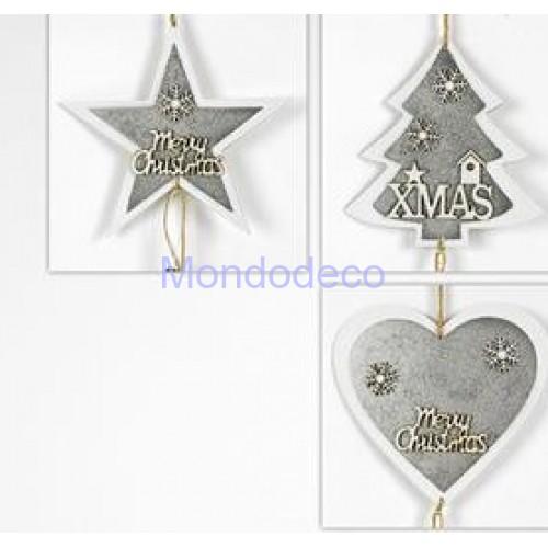 Appendino - Fuori porta stella in legno Merry Christmas con pigne color argento adatto per le decorazioni
