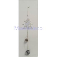 Appendino - Fuori porta albero in legno Merry Christmas con pigne color argento adatto per le decorazioni