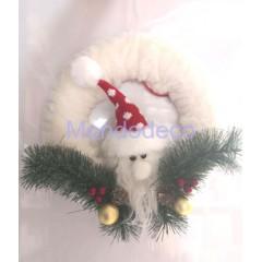 Dietroporta - Fuori porta Babbo Natale con pelliccia e rametti verdi adatto alle decorazioni