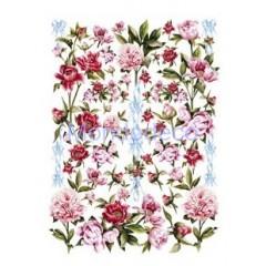 Carta per decoupage classica con fiori peonia
