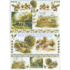 Carta per decoupage classica con paesaggio