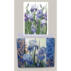 Carta per decoupage classica con iris blu