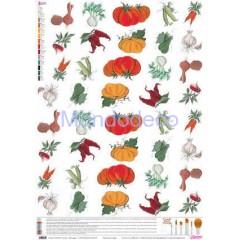 Carta per decoupage classica con frutta e verdura