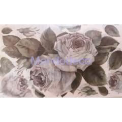 Carta di riso disegnata per decoupage con rose bianche