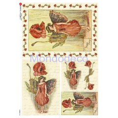 Carta di riso disegnata per decoupage con fate dei fiori