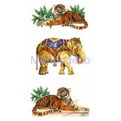 Decor 3D adesivo per vetro e ceramica con tigri e elefanti