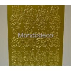 Etichette adesive e decorative con greca farfalla color oro