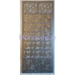 Etichette adesive e decorative con greca color argento