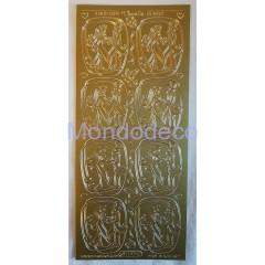 Etichette adesive e decorative con greca color oro
