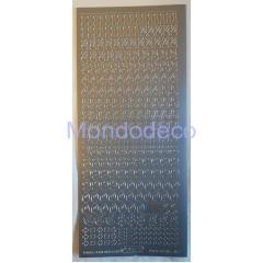 Etichette adesive e decorative con numeri color argento