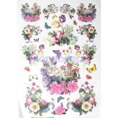 Carta di riso disegnata per decoupage con fiori misti e farfalle  cod. 281