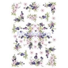 Carta di riso disegnata per decoupage con  more e fiori PAU 06