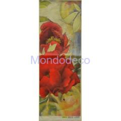 Carta di riso disegnata per decoupage striscia con peonie rosse cod. 26-P
