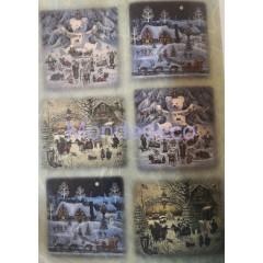Carta di riso disegnata per decoupage con paesaggio invernale