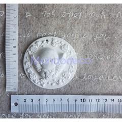 Medaglione con angioletto  in gesso resinato naturale displast