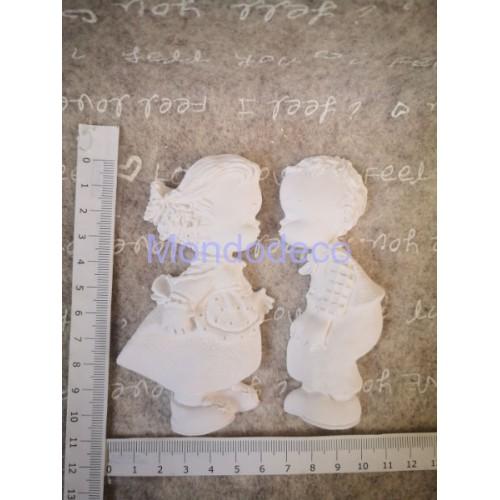 Gessetto - Bimbi maschio e femmina in gesso resinato