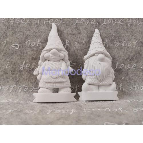 Stampo in gomma siliconica professionale - Coppia di gnomi - Maschio e femmina in gesso resinato