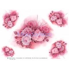 Carta di riso disegnata per decoupage con mazzo di rose rosa