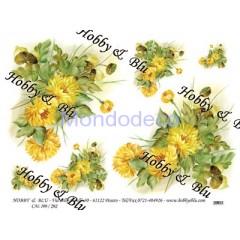 Carta di riso disegnata per decoupage con  fiori