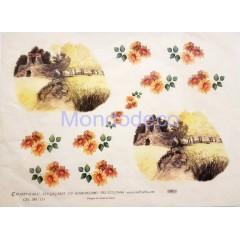 Carta di riso disegnata per decoupage con margherite e scorcio di un paesaggio