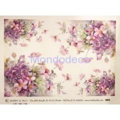 Carta di riso disegnata per decoupage con fiori misti lilla