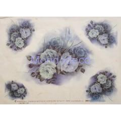 Carta di riso disegnata per decoupage con rose monocolore azzurro