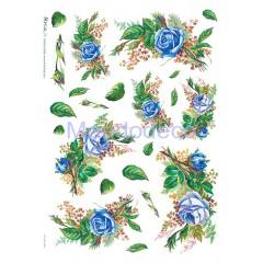 Carta di riso disegnata per decoupage con rose blu