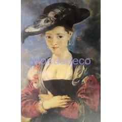 Carta di riso disegnata per decoupage con dama col cappello