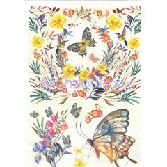 Carta di riso disegnata per decoupage con fiori e farfalle