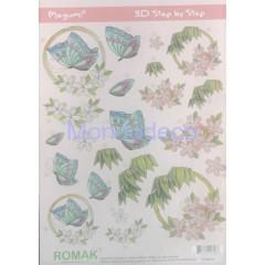 Carta 3D con fiori misti adatta al decoupage